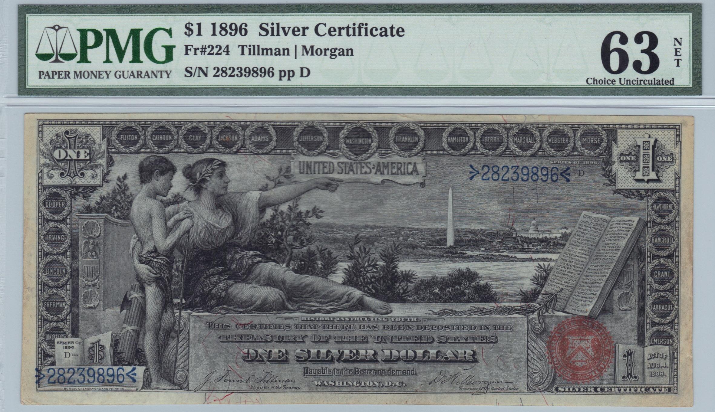 Lot 200 Fr 224 1896 1 Silver Certificate Manifest