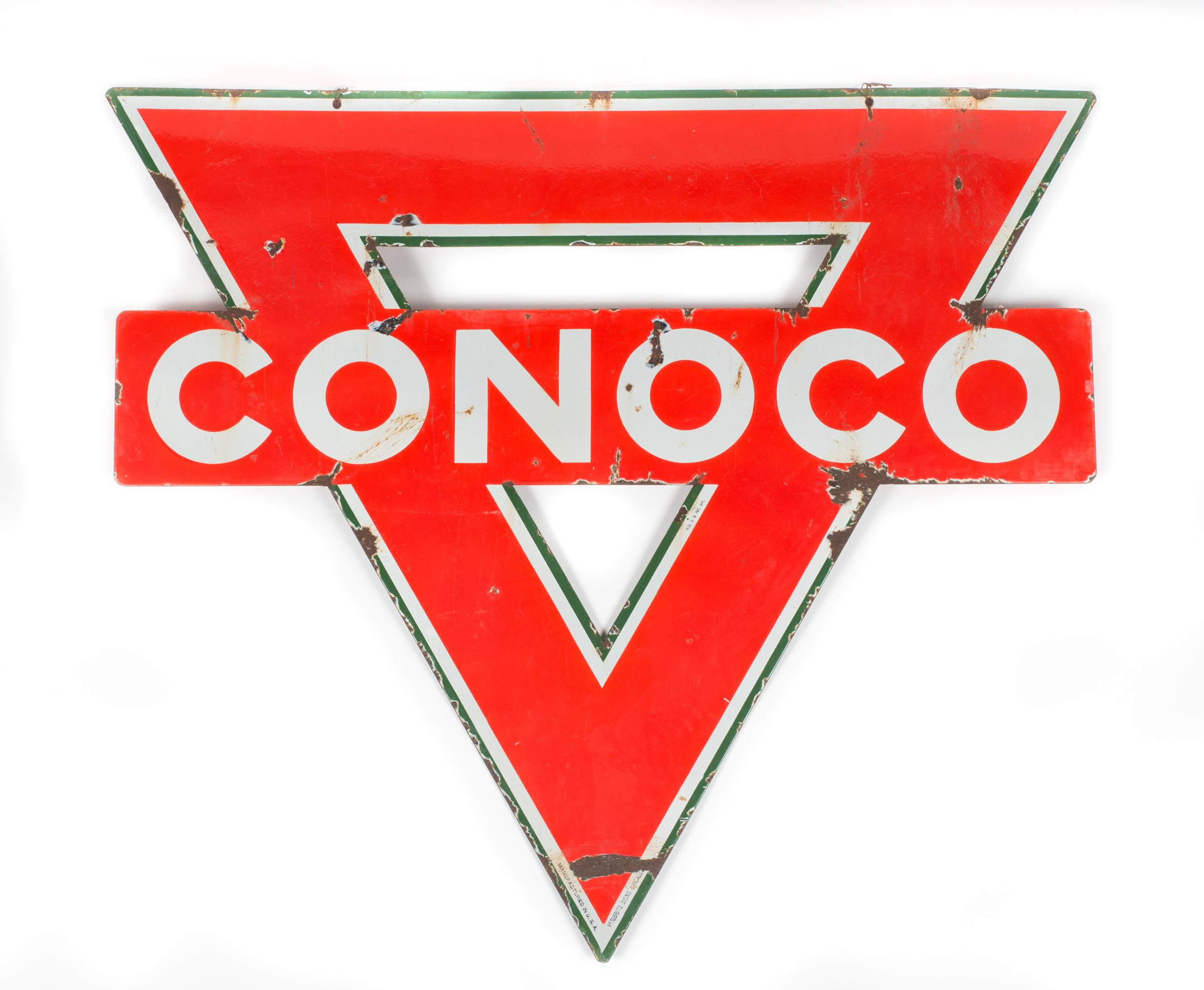 Lot #475 - Conoco Die Cut Porcelain Sign - Manifest Auctions