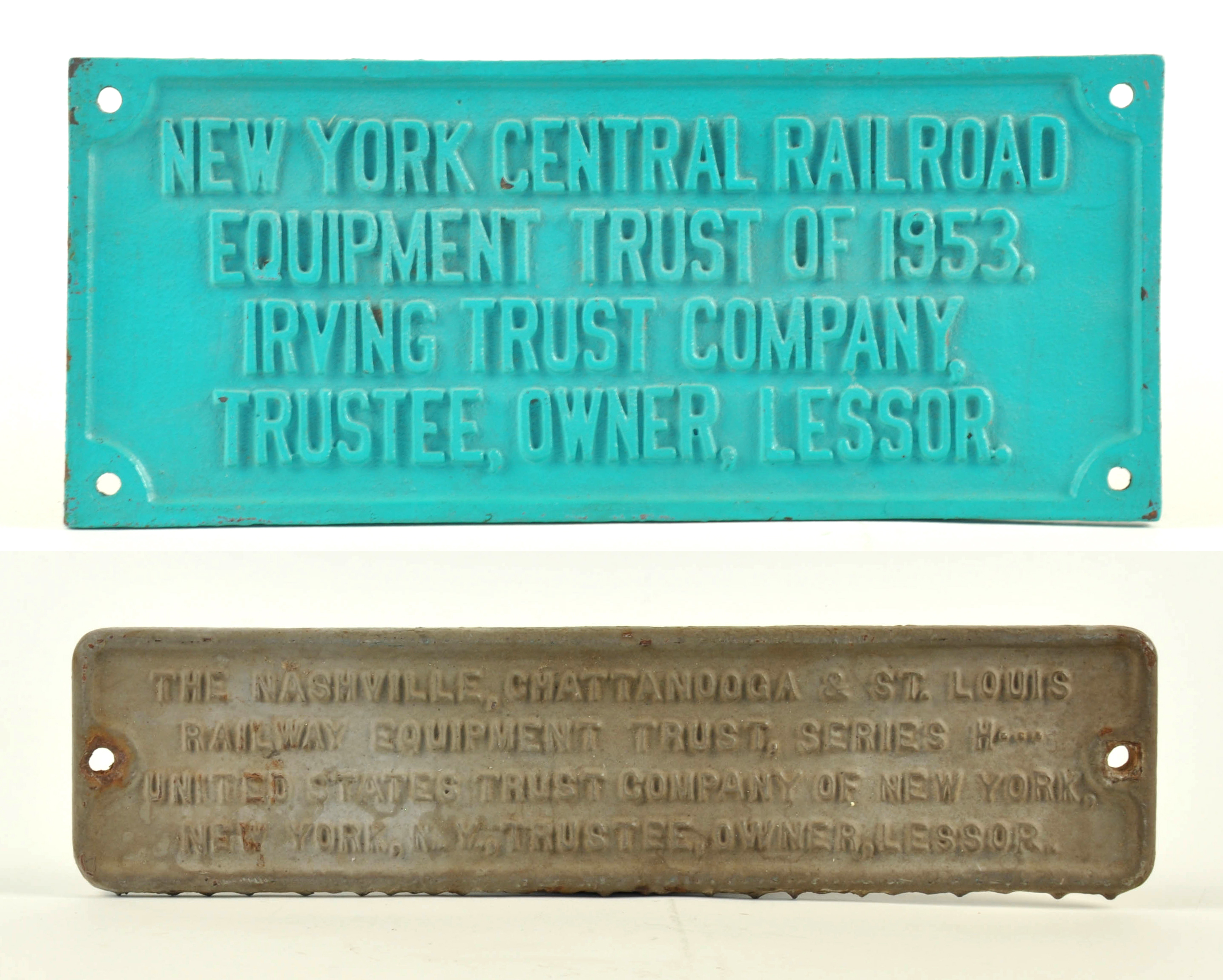 Car Auctions Ny >> Lot #635 - Pair of Railroad Equipment Trust Plates ...