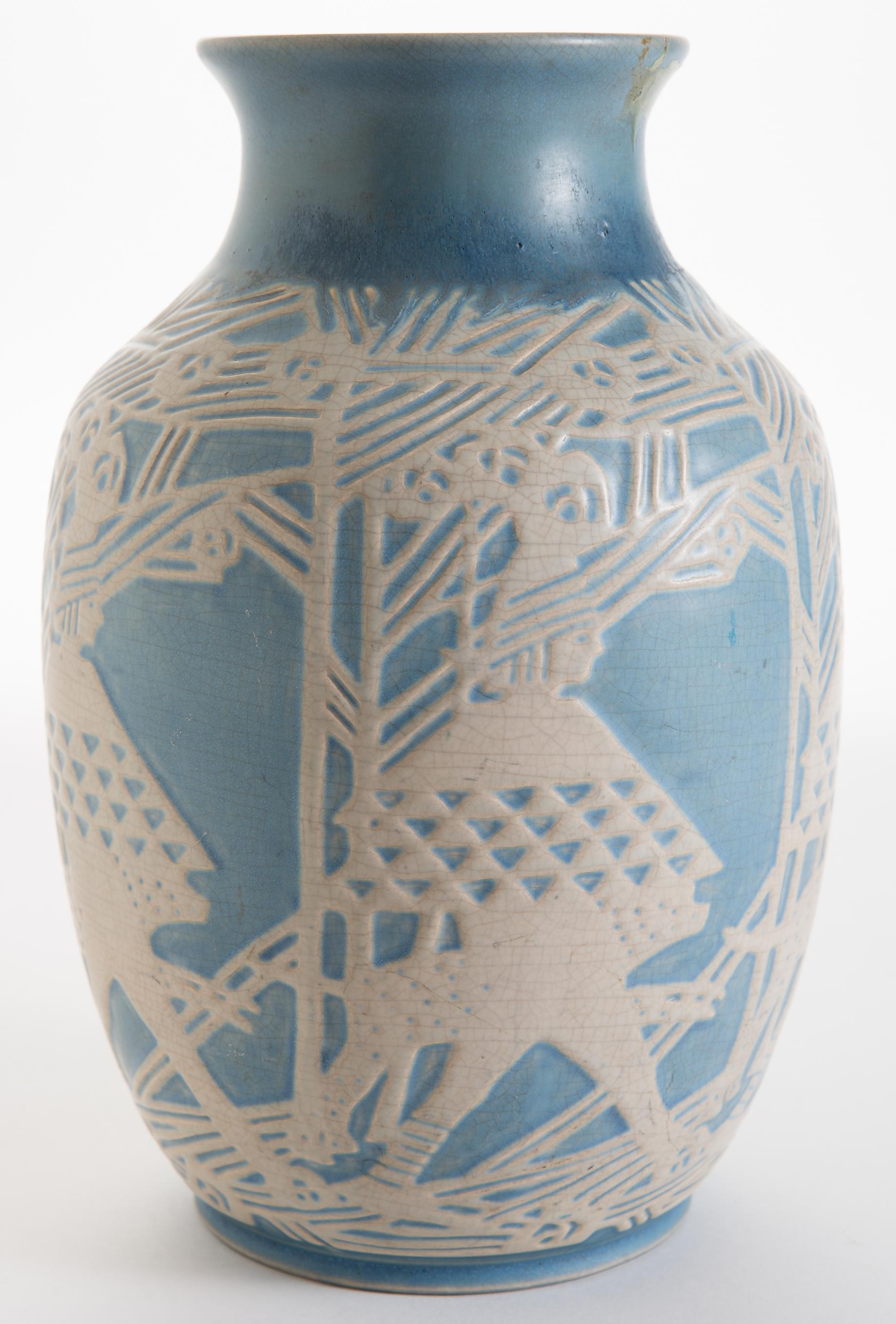Lot fine overbeck carved pottery vase manifest