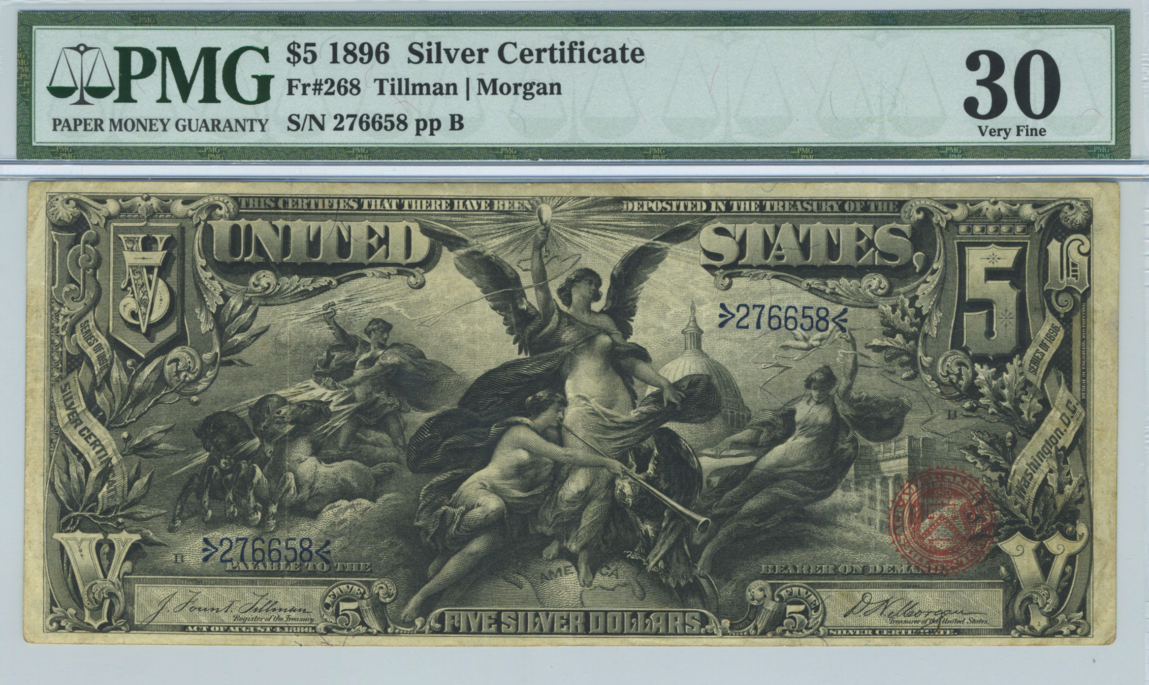 Lot 142 Fr 268 1896 5 Silver Certificate Manifest