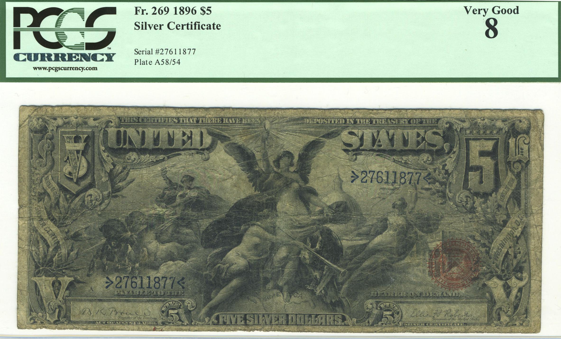 Lot 145 Fr 269 1896 5 Silver Certificate Manifest