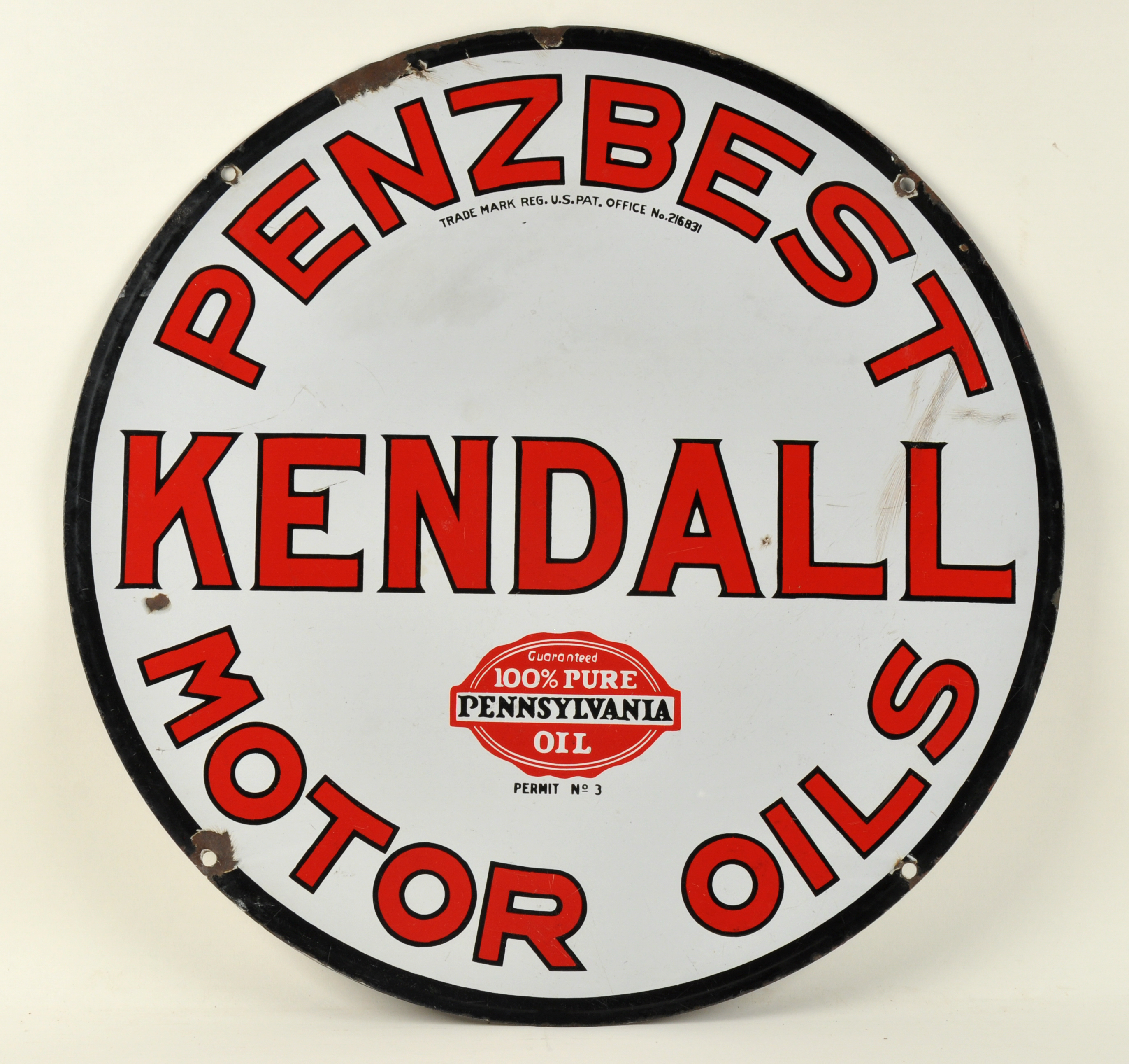 Lot 422 Penzbest Kendall Motor Oil Porcelain Sign
